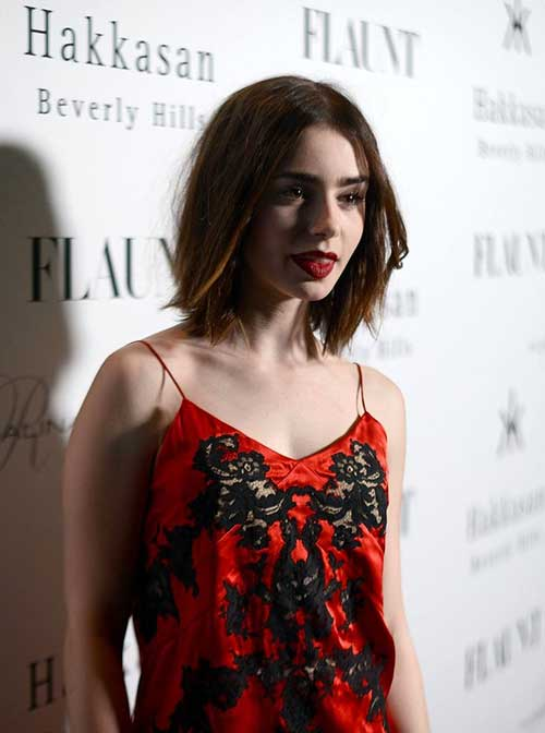 Lily Collins Trendy Short Hair