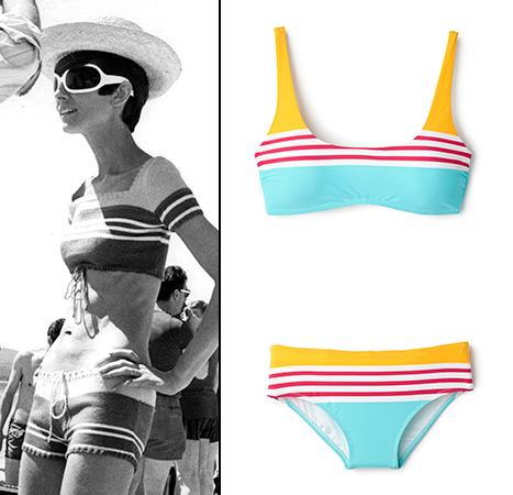 Audrey Hepburn modeling her striped bikini in Two for the Road.
