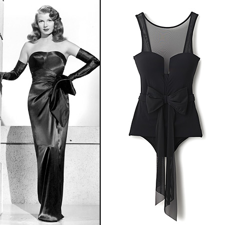 Rita Hayworth looked ever the lady in her bow-topped dress, which inspired this swimsuit by Jets by Jessika Allen.