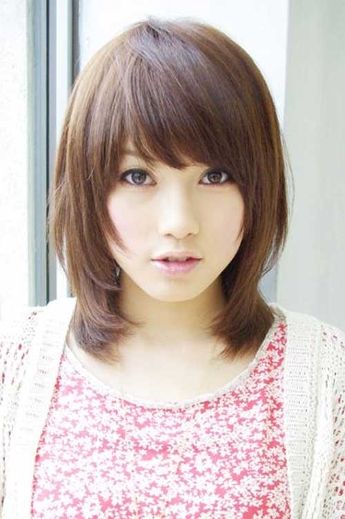 Layered Asian Short Hairstyles with Side Bangs