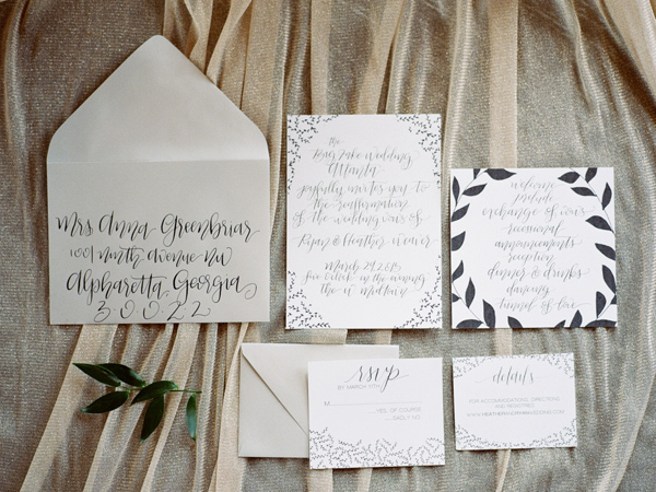 elegant invitations - photo by JD3 Photography http://ruffledblog.com/party-city-wedding-in-atlanta