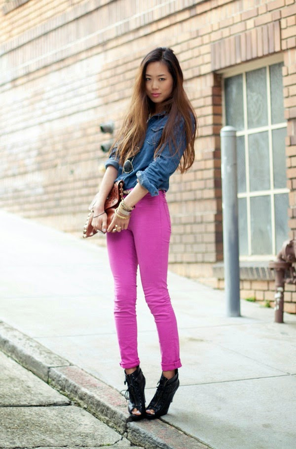 denim shirt and hot pink jeans
