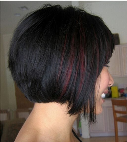 Short Bob Hairstyle with Red Highlights