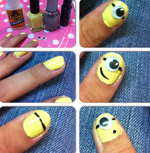 10 Easy Step By Step Minion Nail Art Tutorials For Beginners Learners 2015 7 10 Easy Step by Step Minion Nail Art Tutorials For Beginners & Learners 2015