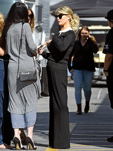 Jessica Simpson shows off her conservative style by wearing an all black outfit on Wednesday, April 8, in L.A.