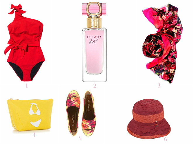 Red-Swimsuit-Red-Hat-and-Floral-Slip-ons-Floral-Scarf-with-Fresh-Perfume