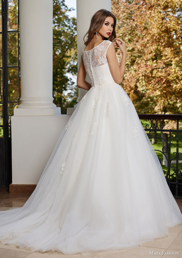 maya fashion 2015 bridal ball gown wedding dress m14 15 illusion straps sweetheart neckline back view train