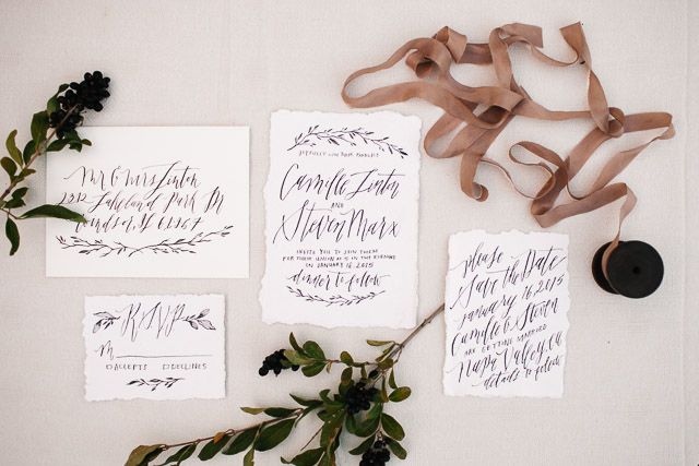 Calligraphy wedding invitations | Mary Claire Photography | see more on: http://burnettsboards.com/2015/04/dreaming-calligraphy-wedding-editorial/