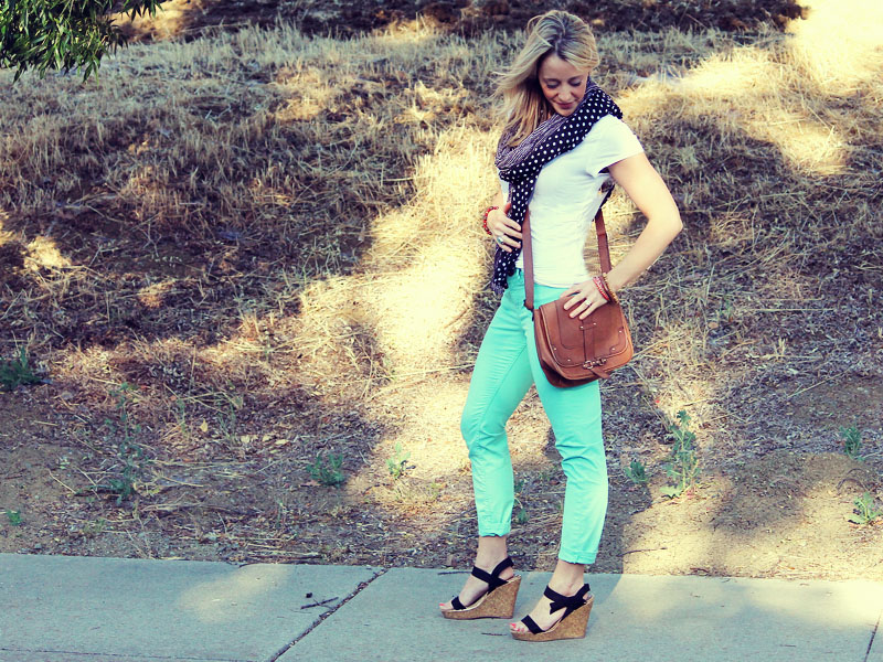 cropped mint jeans