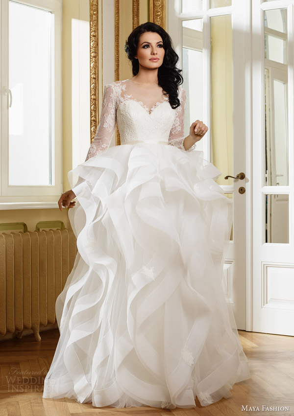 maya fashion 2015 royal bridal collection m27 illusion long sleeve wedding dress flange ruffle skirt