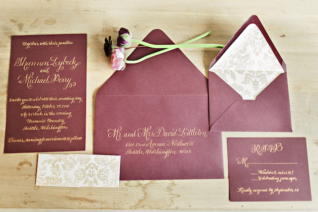 Burgundy wedding invitation suite | Courtney Bowlden Photography | see more on: http://burnettsboards.com/2015/04/burgundy-gold-wedding-ideas/