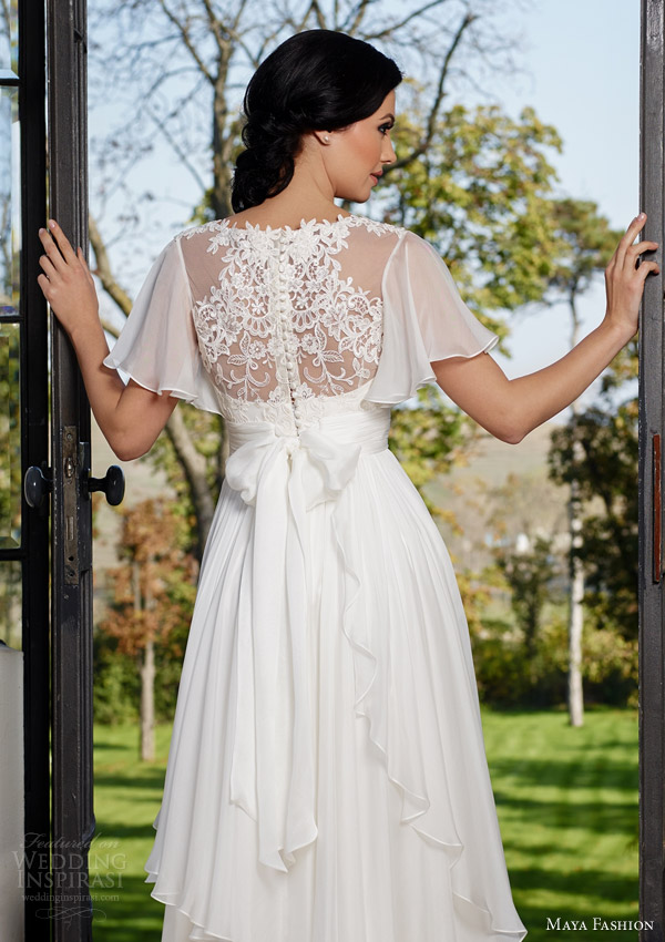 maya fashion 2015 royal bridal collection romantic flutter sleeve wedding dress a line silhouette lace bodice layered skirt m46 illusion back view self tie bow