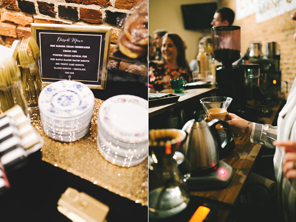 wedding coffee bar - photo by Emily Chidester http://ruffledblog.com/southern-wedding-with-a-gold-sequin-gown