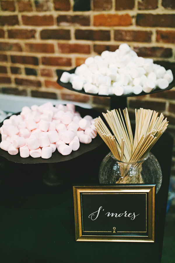 smores bar - photo by Emily Chidester http://ruffledblog.com/southern-wedding-with-a-gold-sequin-gown