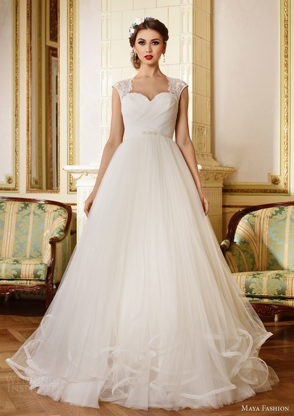 maya fashion 2015 royal bridal collection lace cap sleeve a line wedding dress m28