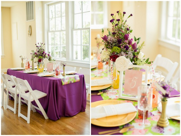 Purple and Gold Wedding Reception Decorations