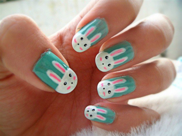 cute easy bunny nails - easter bunny easter nails art easter nail design-f93582