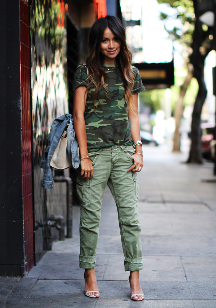 utility pants and camo shirt