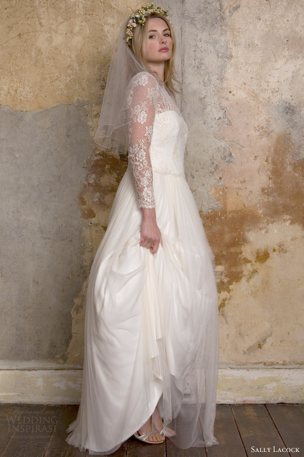 sally lacock bridal 2015 sylvie 1950s vintage style wedding dress illusion neckline long sleeves side view tulle skirt