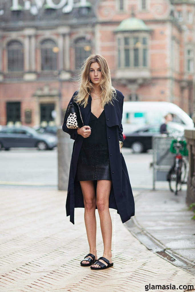 birkenstock and trench