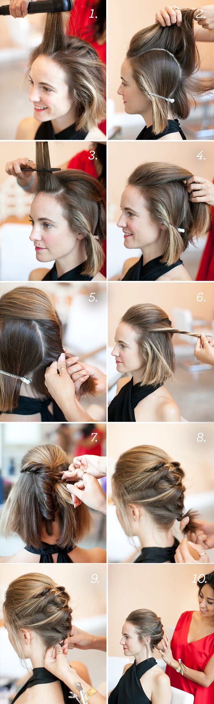 Textured French Twist Style with Bob: Short Updo Hairstyle Tutorial