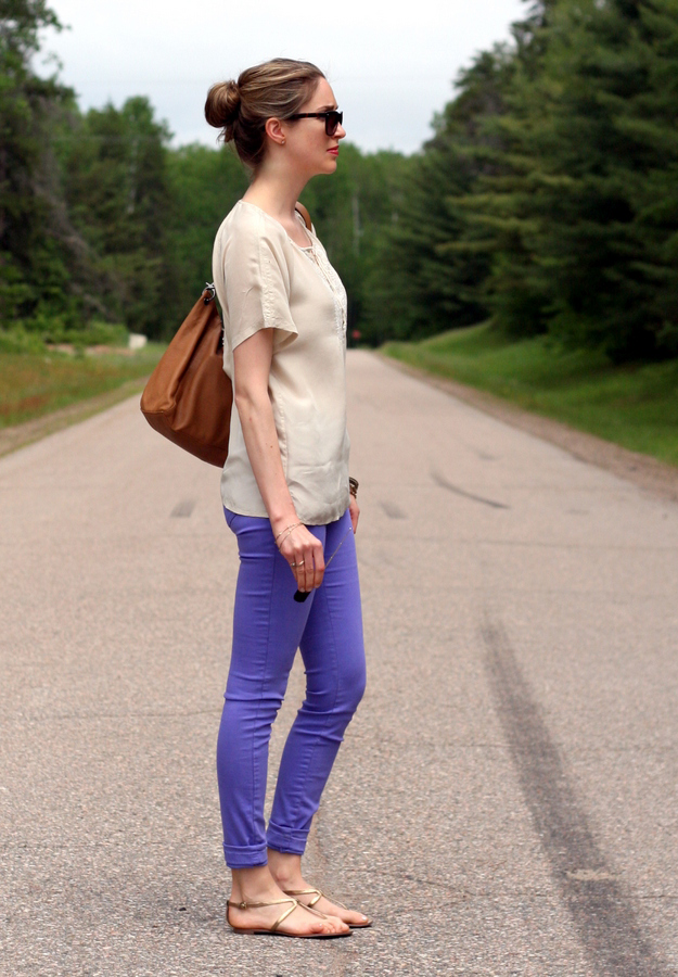 chic silky top and purple jeans