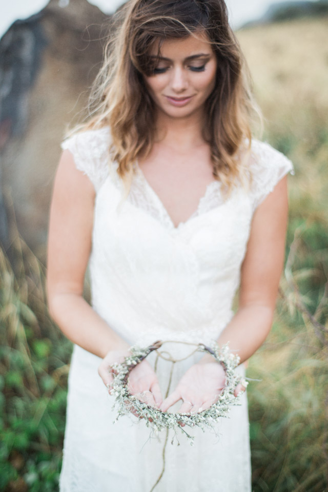 Delicate flower crown | Just B Photography | see more on: http://burnettsboards.com/2015/04/earthy-mountain-elopement-hawaii/