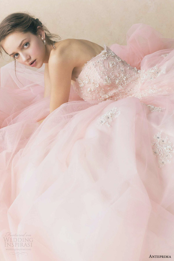 anteprima bridal 2013 izumi ogino salmon pink strapless ball gown wedding dress ant0064