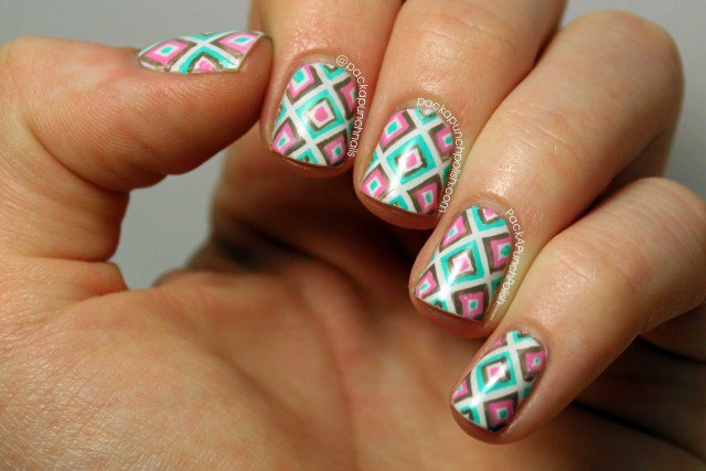 PackAPunchPolish : Square Geometric Print Nail Art Inspired By C