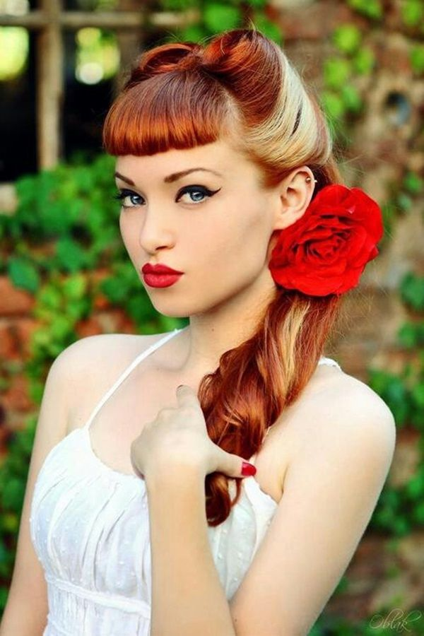 retro big flowers hairstyle