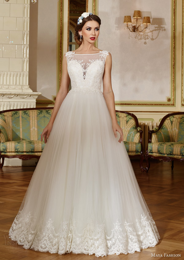 maya fashion 2015 royal bridal collection sleeveless princess ball gown wedding dress illusion neckline lace trim skirt m37