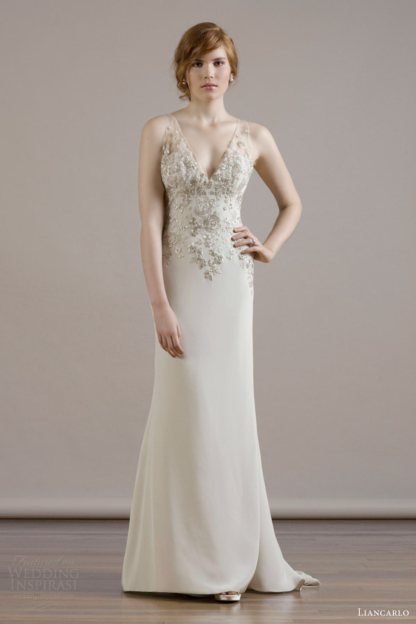 liancarlo bridal fall 2015 wedding dress style 6816 silk crepe v neck sleeveless sheath gown bouquet embroidery bodice illusion back sand candlelight color