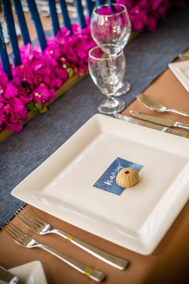 Blue place cards | Daniel Marcion of La Belle Porte at The Landings St. Lucia | see more on: http://burnettsboards.com/2015/04/caribbean-vow-renewal/