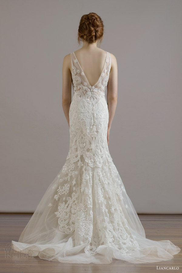 liancarlo bridal fall 2015 wedding dress style 6811 macrame embroidery french tulle v neck sheath gown illusion v back view train