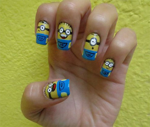 25 Awesome Minion Nail Art Designs Ideas Trends Stickers 2015 14 25+ Awesome Minion Nail Art Designs, Ideas, Trends & Stickers 2015