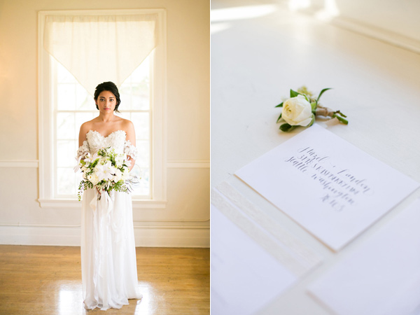 white paper goods - photo by Kelly Lemon Photography http://ruffledblog.com/monochrome-spring-wedding-editorial
