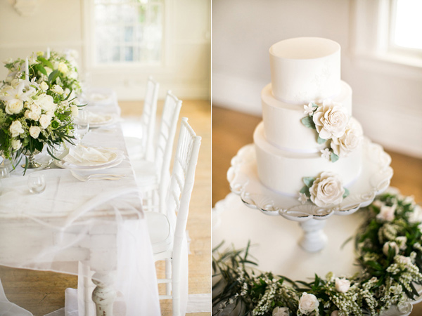 3 tier wedding cake - photo by Kelly Lemon Photography http://ruffledblog.com/monochrome-spring-wedding-editorial