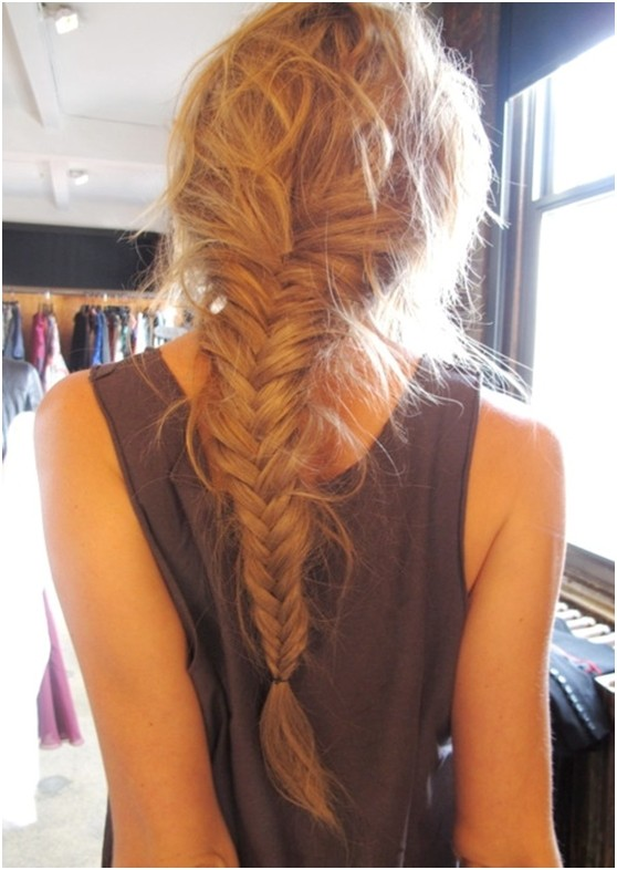 Messy Fishtail Braided Hairstyle for Long Hair