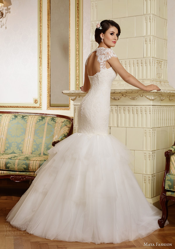 maya fashion 2015 royal bridal collection cap sleeve mermaid wedding dress keyhole back view m36