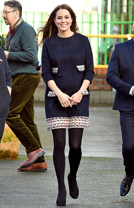 Kate Middleton looked scholarly in a dress with tweed details at the Barlby Primary School in London on Jan. 15.
