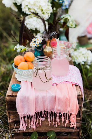 Pink lemonade mason jars | Hilary Cam Photography | see more on: http://burnettsboards.com/2015/04/diy-bohemian-love-tent/