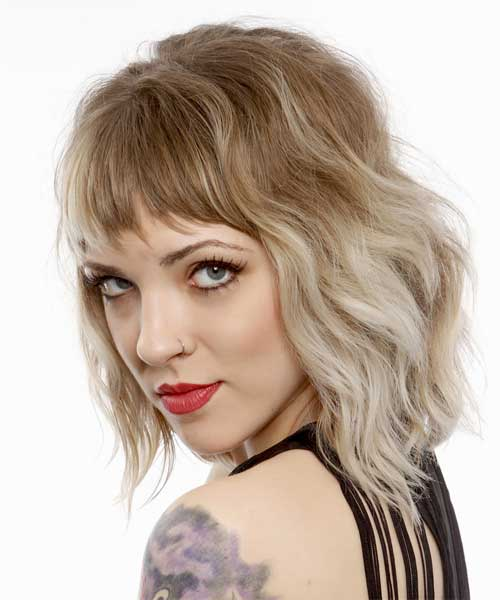 Ombre Short Wavy Hair With Bangs