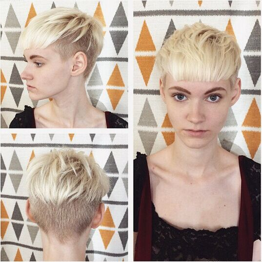 Short Blond Hairstyle with Blunt Bangs