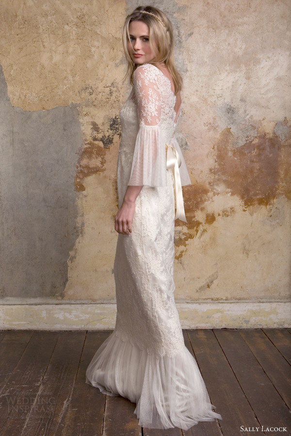 sally lacock bridal 2015 honor lace wedding dress long bell sleeves side back view