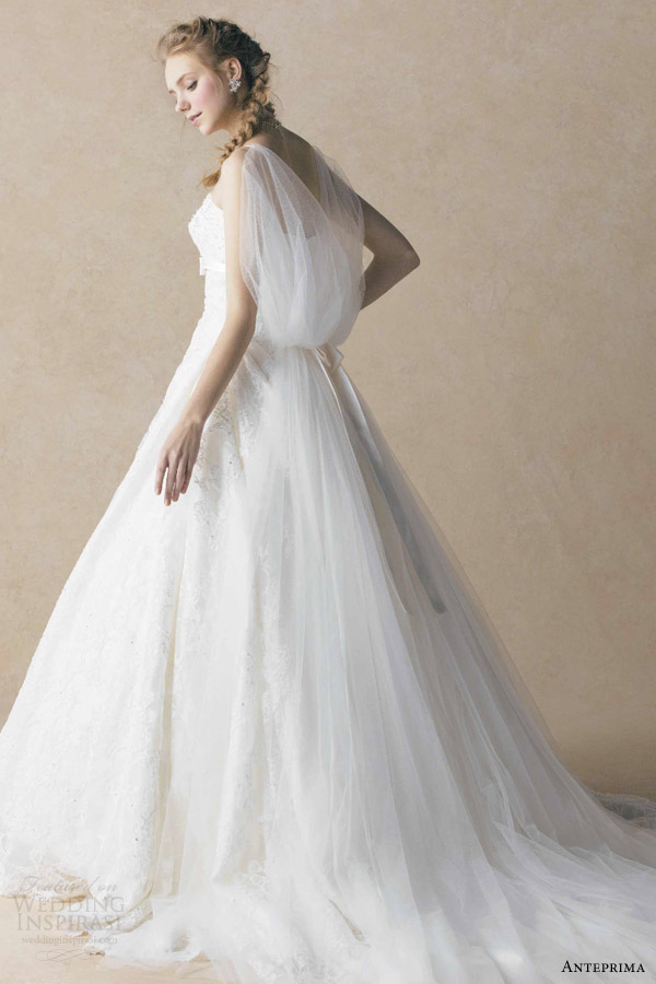 anteprima bridal by izumi ogino off white wedding dress lace overlay draped sleeves ant0057