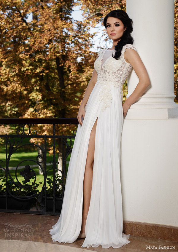 maya fashion wedding dresses 2015 cap sleeve gown slit lace bodice royal collection m44