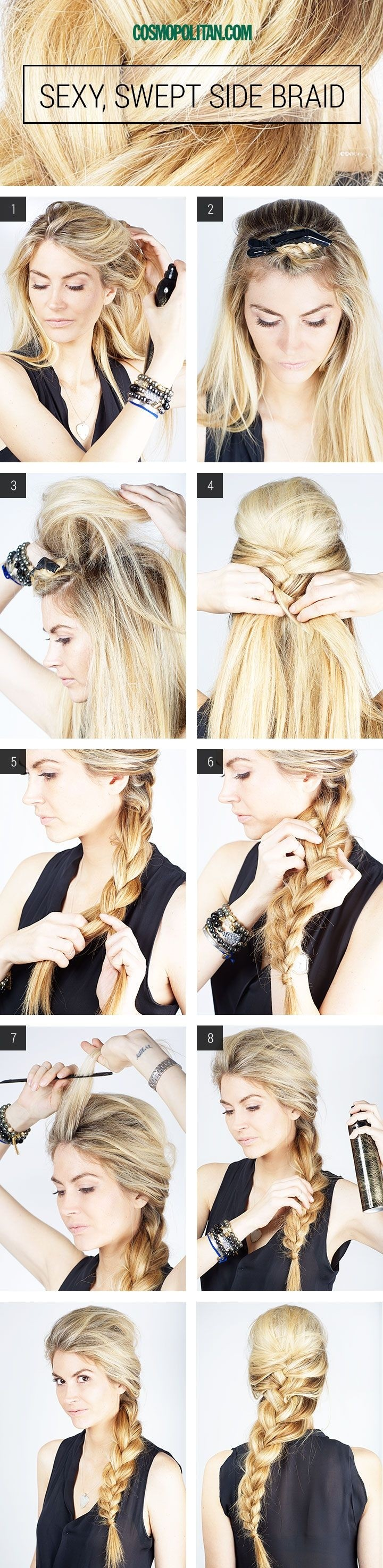 Sexy Swept Side Braided Hairstyle