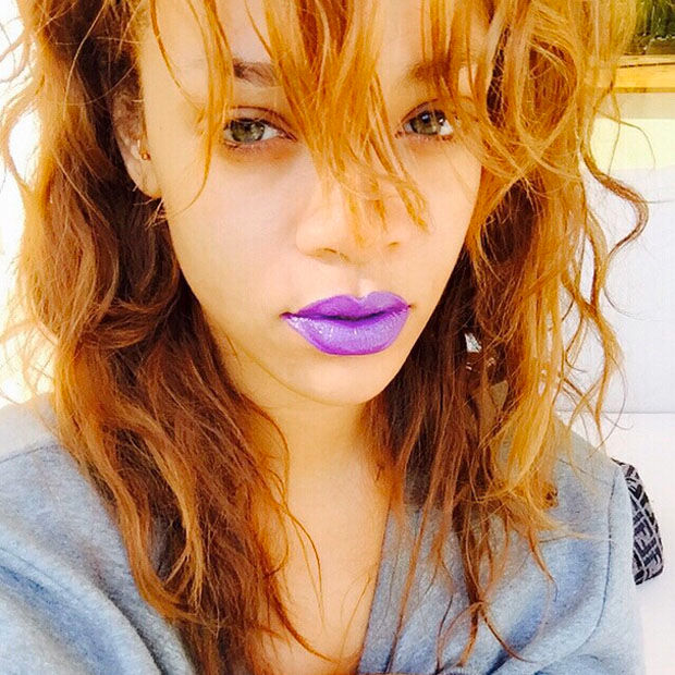 Rihanna's new purple lipstick is already sold out.