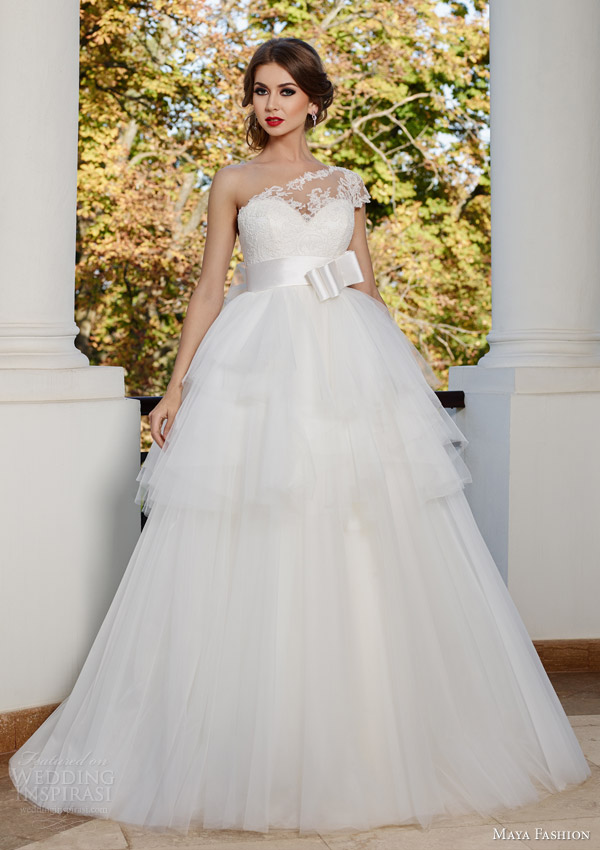 maya bridal 2015 royal wedding dress collection illusion one shoulder ball gown bow waist m39