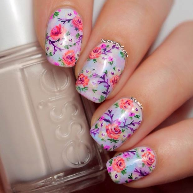Purple Floral Nail Design for Spring
